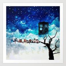 Owl Tardis Starry Night Art Print