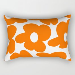 Orange Retro Flowers White Background #decor #society6 #buyart Rectangular Pillow