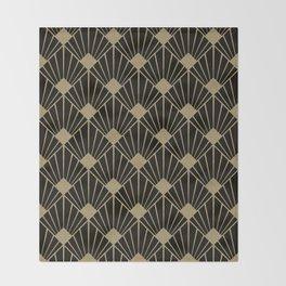 Black And Gold Art Deco Design Throw Blanket