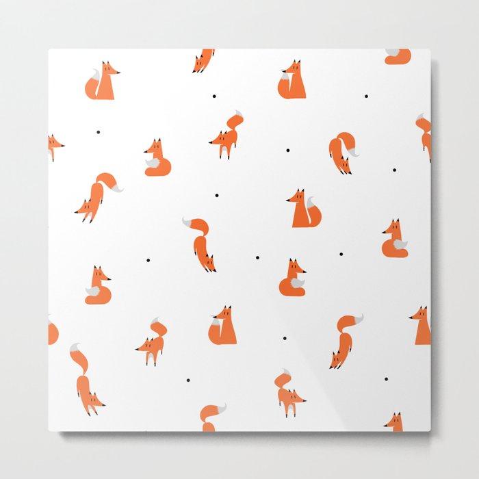 Winter foxes (white) Metal Print
