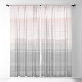 Touching Blush Gray Watercolor Abstract #4 #painting #decor #art #society6 Sheer Curtain