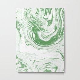 Marble suminagashi spilled ink 4 swirl marbled pattern basic green and white Metal Print