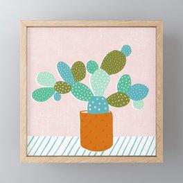 modern cacti Framed Mini Art Print