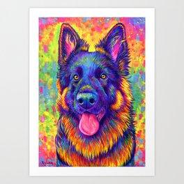Luminescent - Psychedelic German Shepherd Dog Art Print