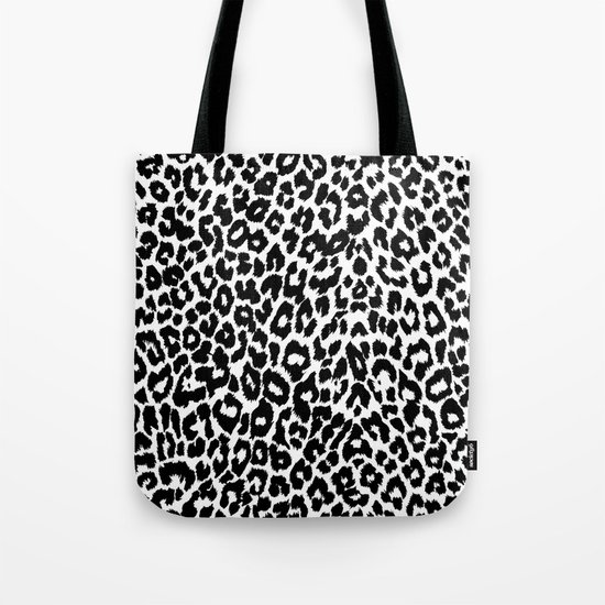 Leopard Pattern (Black and White) Tote Bag