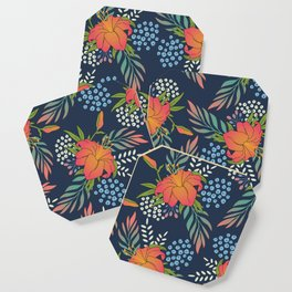 Flaming Blue Floral Coaster