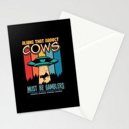 Aliesn Cows Must be Gamblers raising steak Stationery Cards