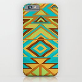 Native Aztec Turquoise Tribal Rug Pattern iPhone Case