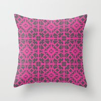 gray pattern Throw Pillows featuring Magenta Gray pattern by xiari
