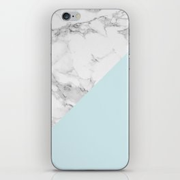 Marble + Pastel Blue iPhone Skin