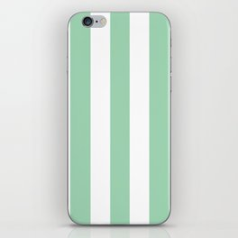 Turquoise green - solid color - white vertical lines pattern iPhone Skin
