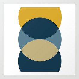 Rise of the Sun - Yellow, Blue, Geometric Art Art Print