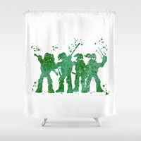 teenage mutant ninja turtles Shower Curtains featuring Teenage Mutant Ninja Turtles by Carma Zoe