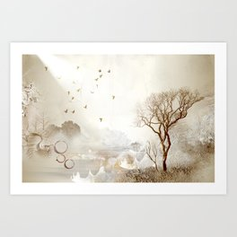 Loch Lovely Abstract Art in Cinnamon and Taupe Art Print
