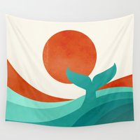 wave Wall Tapestries featuring Wave (day) by Jay Fleck