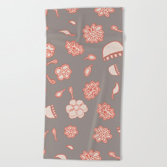 floral black and red Beach Towel