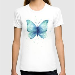 Blue Butterfly Watercolor T-shirt