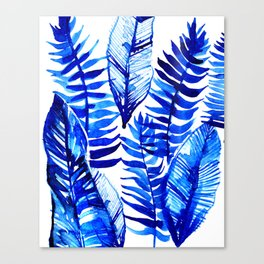 Jungle Leaves & Ferns in Blue Canvas Print