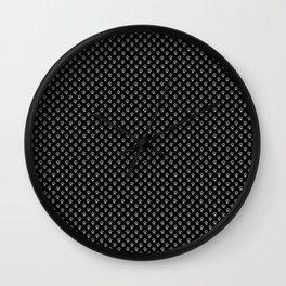 Tiny Paw Prints Grey on Black Pattern Wall Clock