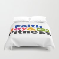 fitness Duvet Covers featuring Faith Joy & Fitness by Maria Faith Garcia