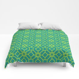 Art Deco Pattern Teal / Yellow Comforters