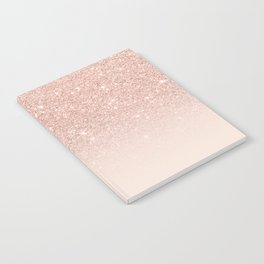 Rose gold faux glitter pink ombre color block Notebook