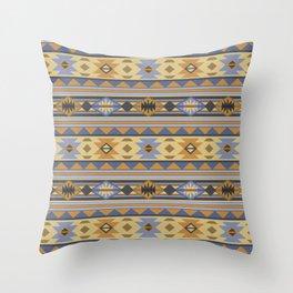 Southwest Tribal Pattern Design Gold Blue Gray Throw Pillow