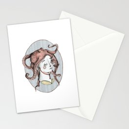 The Girl with an Octopus Hat Stationery Cards