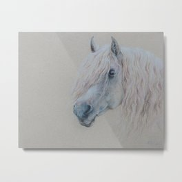 GRAY HORSE head Pony portrait Pastel drawing Equestrian Metal Print