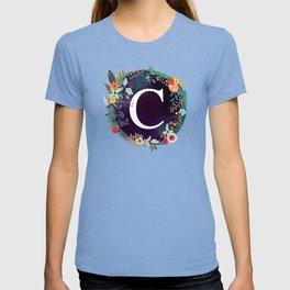 Personalized Monogram Initial Letter C Floral Wreath Artwork T-shirt