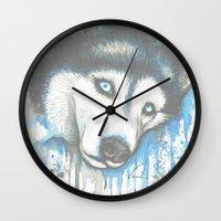 husky Wall Clocks featuring Husky by Villarreal