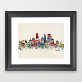 Minneapolis Minnesota skyline Framed Art Print