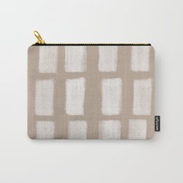 Brush Strokes Vertical Lines Off White on Nude Carry-All Pouch