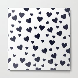 Hearts pattern - dark blue Metal Print