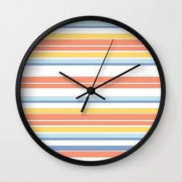 Summer Stripe|Yellow Pink Blue|Renee Davis Wall Clock
