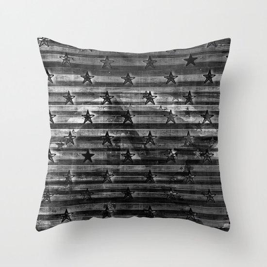 Black Stars & Black Stripes Throw Pillow