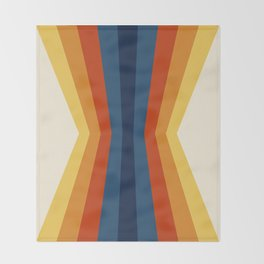 Bright 70's Retro Stripes Reflection Throw Blanket
