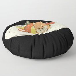 dog with omelette food Floor Pillow
