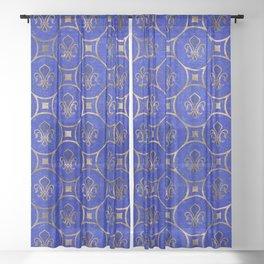 Fleur-de-lis pattern - Lapis Lazuli and Gold Sheer Curtain