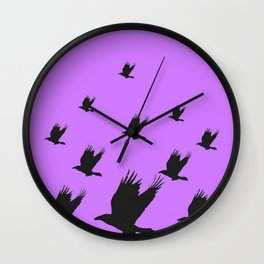 FLYING FLOCK BLACK CROWS/RAVENS ON LILAC COLOR Wall Clock