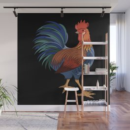 Rooster on Black Wall Mural
