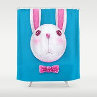 rabbit Shower Curtains featuring Rabbit by Lime