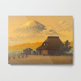 Vintage Japanese Woodblock Print Sepia Japanese Farm Mount Fuji Farmer Metal Print
