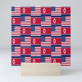 Mix of flag: USA and North Korea Mini Art Print