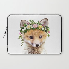 Baby Fox With Flower Crown, Baby Animals Art Print By Synplus Laptop Sleeve