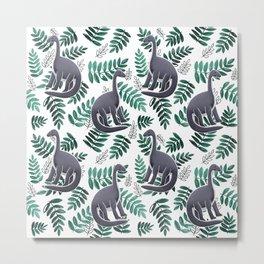 Modern Dinosaur Pattern - Teal Metal Print