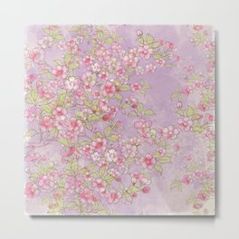 Cherry Blossoms:  Delicate Watercolor Branches, pink on soft lavender Metal Print