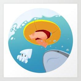 Swim upon the shark Art Print