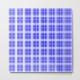 Bright Neon Blue and White Tartan Plaid Check Metal Print
