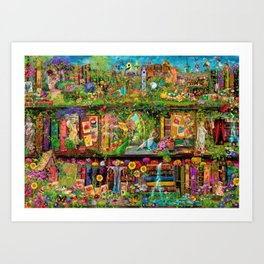 The Secret Garden Book Shelf Art Print